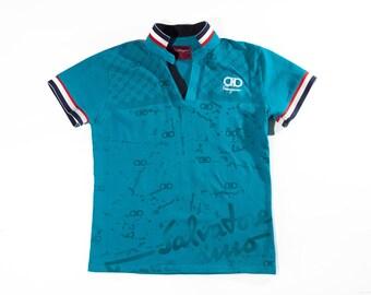 90s Salvatore Ferragamo Teal Tennis Shirt