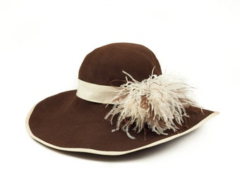 40s Creme White Feather Brown Felt Hat L