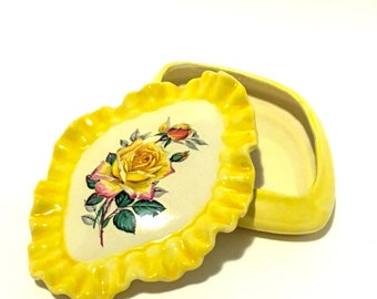 1979 Hand-Painted Yellow Rose Ceramic Trinket Dish with Lid