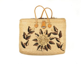 70s Boho Straw Tote Hand Embroidered Bag