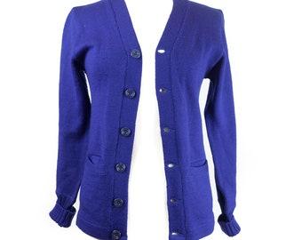 50s John Dunlap Navy Blue Cardigan Sweater