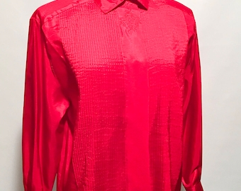 80s Red Polyester Long Sleeve Button Up Blouse