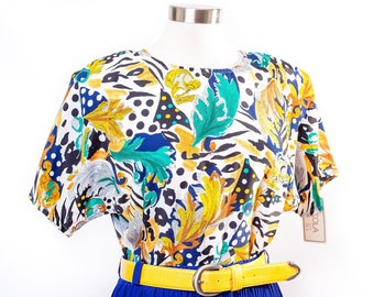 80s Bright Multicolor Deadstock Blouse