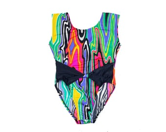 90s Girls Psychedelic Woodgrain Multicolor Leotard or Swim Suit L
