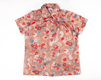 70s Handmade Polyester Tan / Red Floral Shirt with Pockets