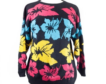 80s Black Blue Yellow Pink Floral Sweater