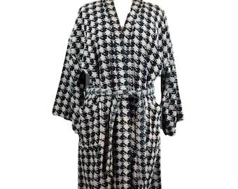 90s Black Gray Houndstooth Men's Bath Robe