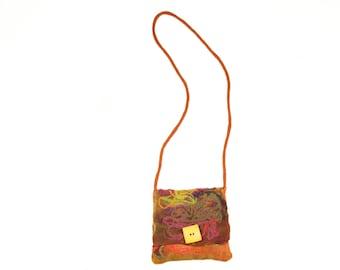 90s Boho Earthy Hand-Spun Wool Cross-Body Purse