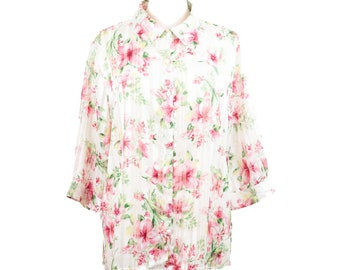 90s Bonworth White Pink Floral 3/4 Sleeve Blouse LP