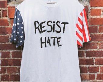 "Hand-Painted ""Resist Hate"" USA Tee"