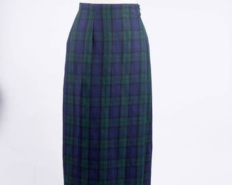 2096991fc 80s Green and Navy Long Plaid Skirt