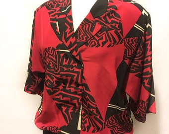 90s Red Black Double-Breasted Abstract Blouse