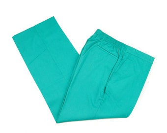80s Teal Stretch Waist Mens Casual Pants 34x27