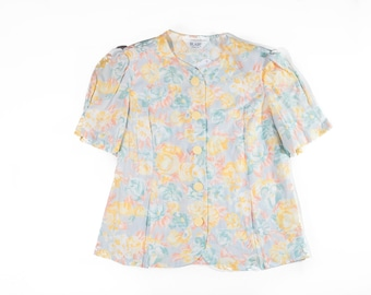 80s Pastel Yellow Floral Button Up Blouse