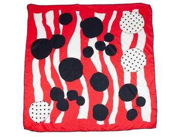 80s Silk Red Black White Polka Dot Scarf