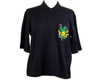 90s Black Beaded Pocket Women's Polo L