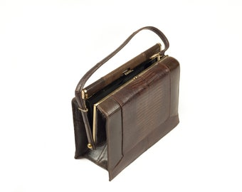 LaDora 60s Brown Leather Handbag Purse