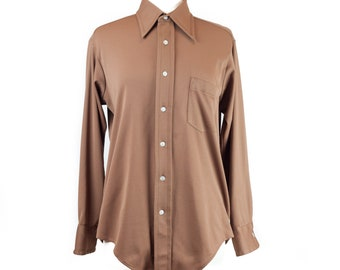 70s Mocha Brown Pointed Collar Button Up Shirt M