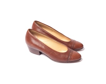80s Valentino Brown Leather Heeled Shoes