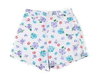 90s High Waist White Multicolor Floral Shorts