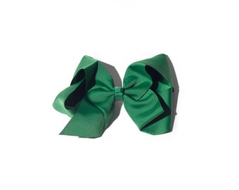 Hunter Green Girls Clip-on Hair Bow