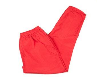 90s Red Women's 1X Silk Joggers Windpants