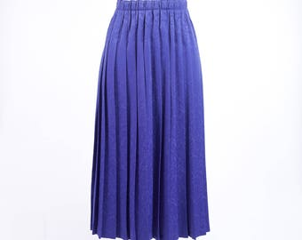 80s Heavy Long Blue Pleated Skirt
