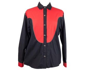 80s Western Red Black Cowboy Button Up Shirt