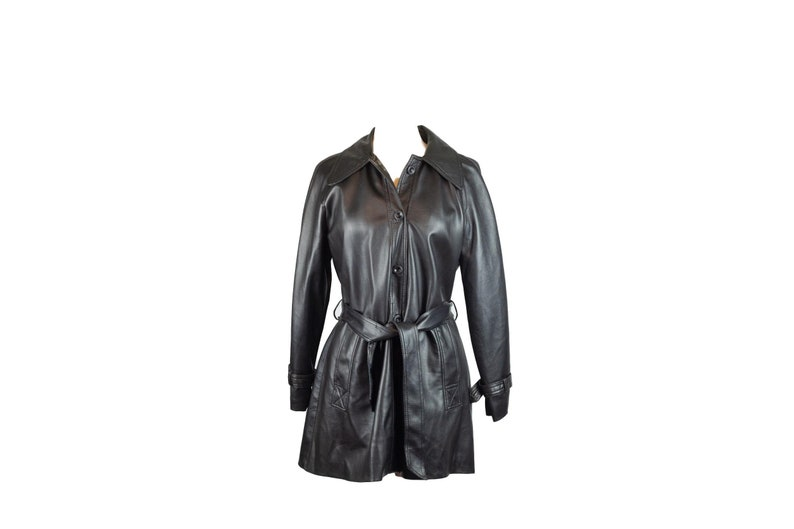 70s Trappings Black Faux Leather Vinyl Jacket 12