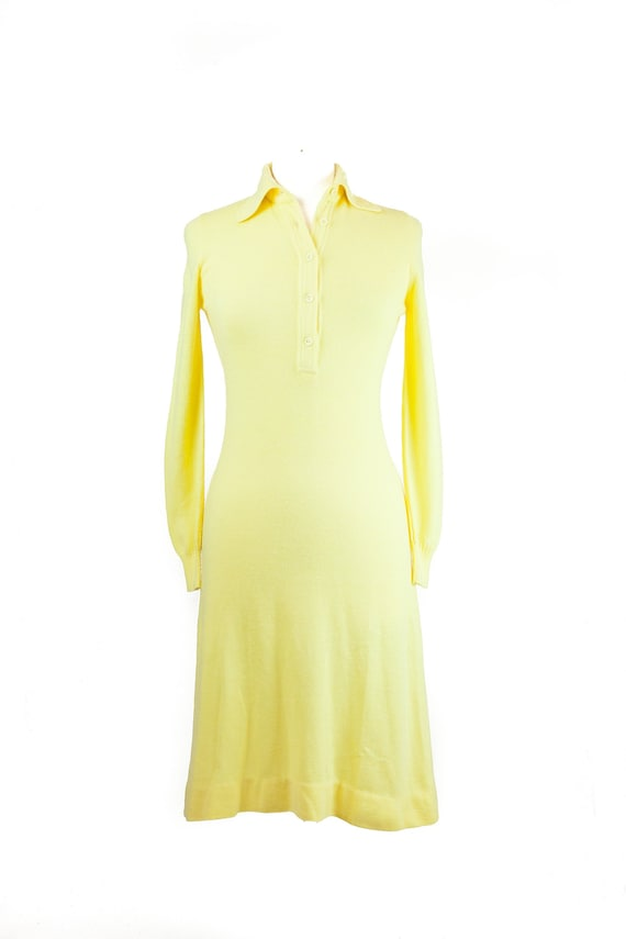 90s Canary Yellow Button Down Sweater Dress Etsy