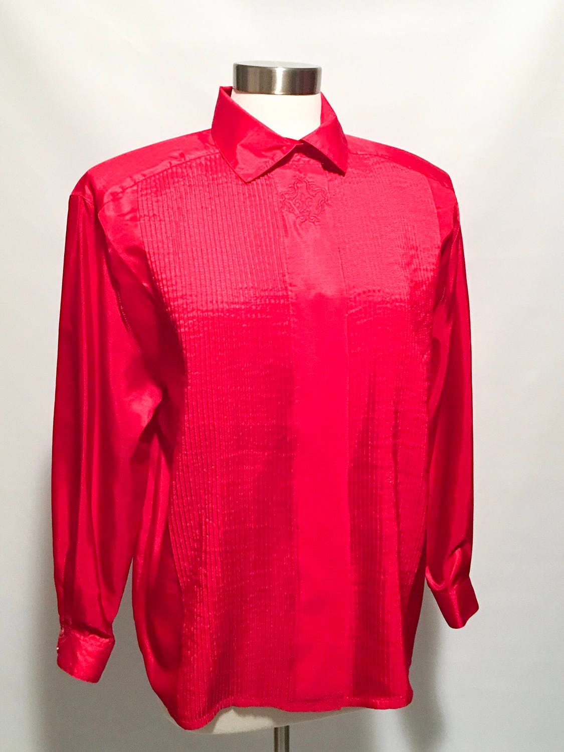 786448a8 80s Red Polyester Long Sleeve Button Up Blouse