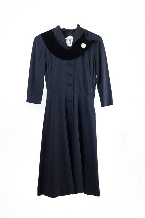 40s Black Velvet Collar Dress