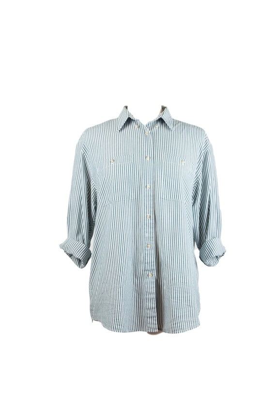90s Green White Vertical Striped Button Up Women's