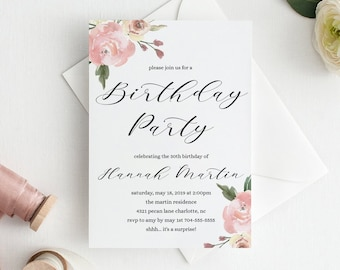 Birthday Invitation Template Download Adult Invitations Floral Womens Flowers