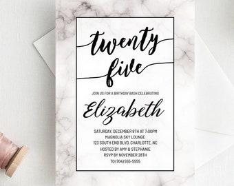 25th Birthday Invitations For Women Invite Marble Invitation Black And White 25