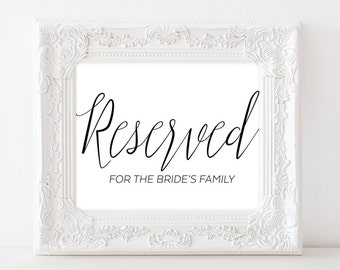 Wedding Reserved Sign - Reserved for Bride's Family - Reserved Sign for Wedding - Reserved Sign Wedding Table Decor - Reserved for Family