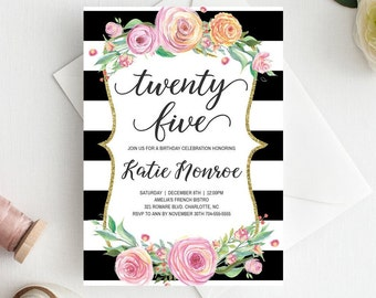 25th Birthday Invitations For Women Floral Invitation Template Invite Flowers