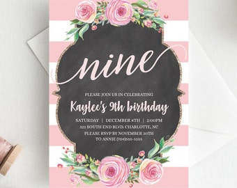 Pink 9th Birthday Invitations For Girls Ninth Invitation Invite Little And Gold CL1
