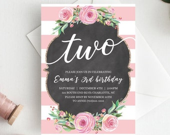 Floral Girls Birthday Invitations For Two Year Old Invitation Invite Second Girl 2nd CL1