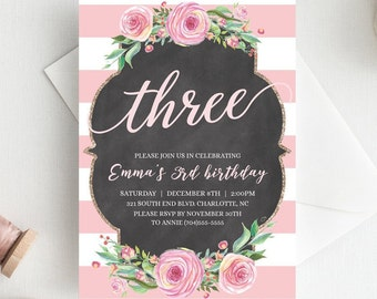 3rd Birthday Invitations For Girls Third Invitation Template Floral Blush Pink Gold EDITABLE CL1