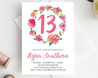 4th birthday invitation girl birthday invitation template pink etsy