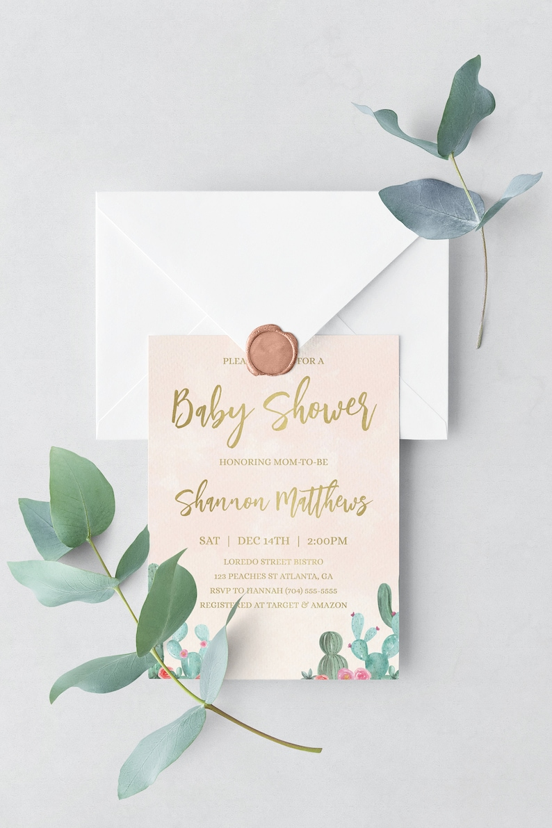 Succulent Baby Shower Invitation Template Baby Shower image 0