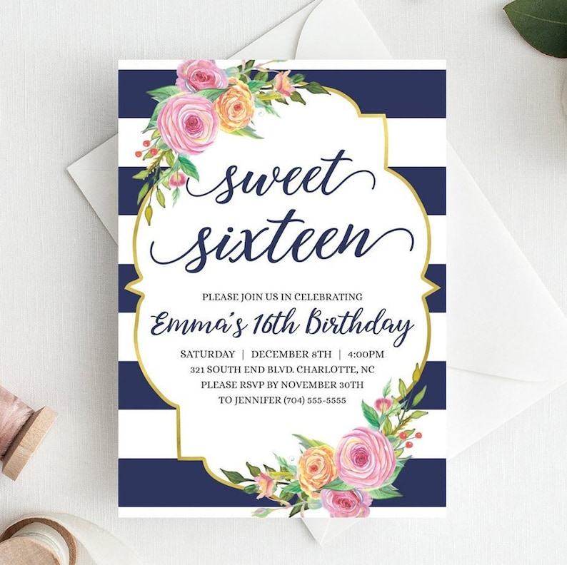 image relating to Printable Sweet 16 Invitations named Floral Adorable 16 Invitation Printable Lovable 16 Invites Template, Cute 16 Invitation Blue Adorable 16 Invitation Army Gold Blush Crimson