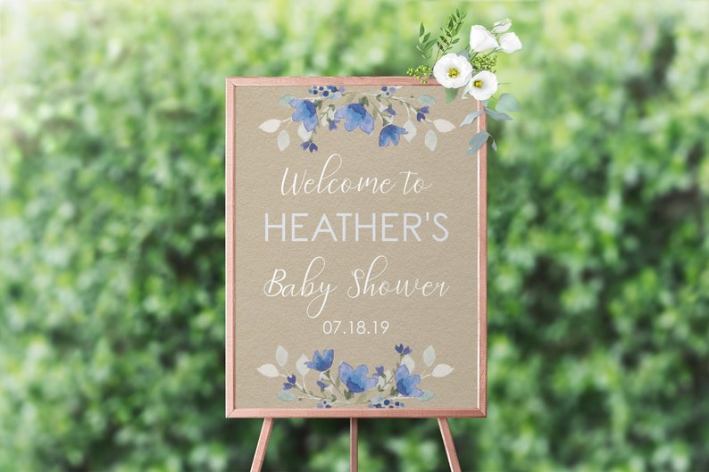 Welcome Baby Shower Sign Boy Boy Welcome Sign Baby Shower Boy image 0