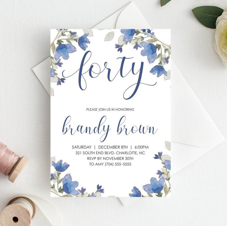 40th Birthday Invitation Template Adult Invitations