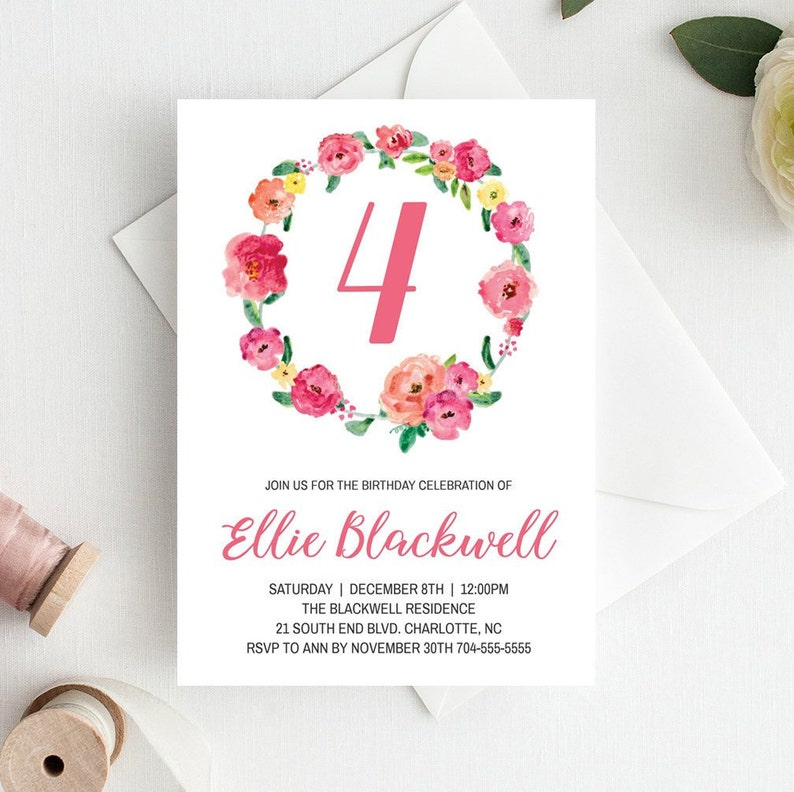 Girl Birthday Invitations 4 Year Old Floral