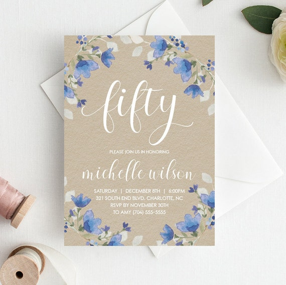 50th Birthday Invitations Template Party