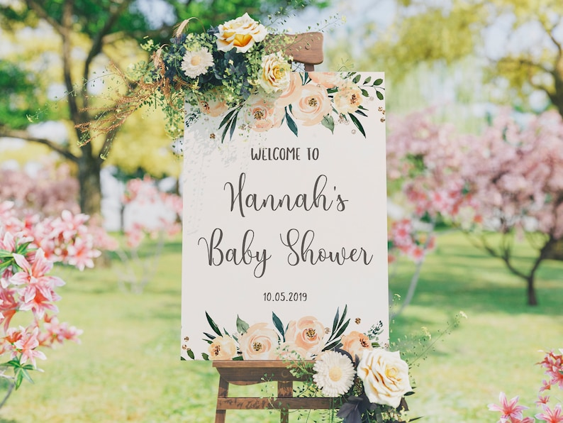Baby Shower Sign Floral Welcome Sign Baby Shower Girl Girl image 0
