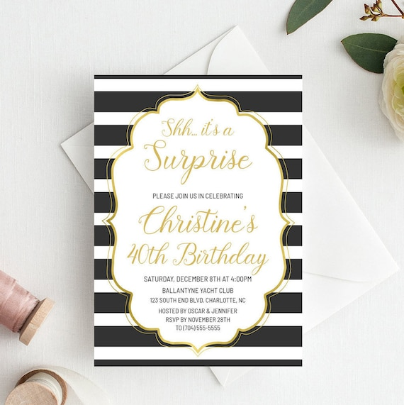 Surprise Birthday Invitation Gold Shh Its A