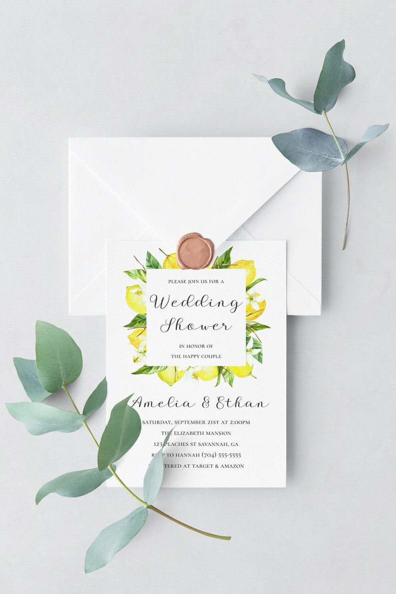 Wedding Shower Invitation Template Lemon Wedding Shower image 0